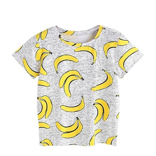 Winwintom Mujeres del verano de manga corta gris Banana camiseta impresa blusa tops