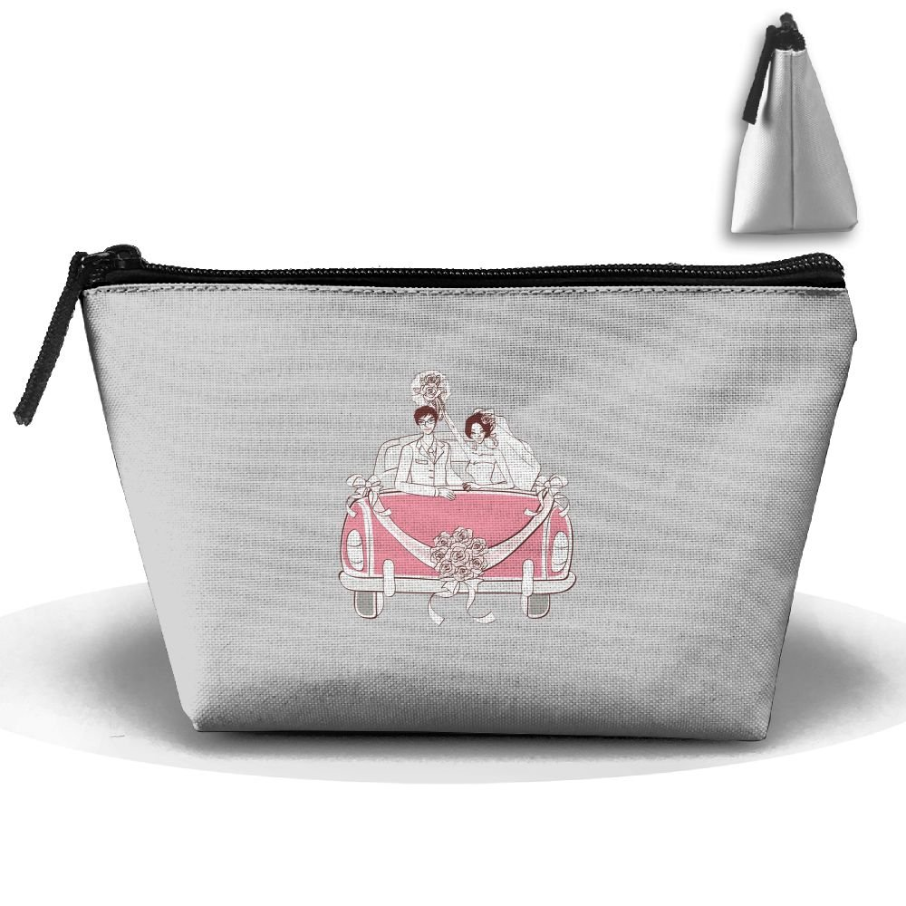 Unisex Stylish And Practical Lovely Bride And Groom Wedding Car Flower Trapezoidal Storage Bags Handbags