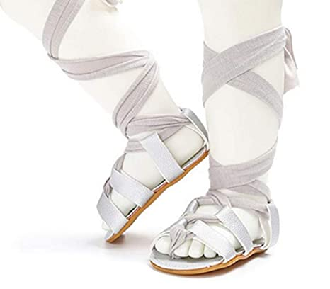 c96ee4c935e Gogolan Soft Sole Anti-Slip Gladiator Bandage Roma Knee High Boots  Cross-Tied Crib Prewalker Sandals Shoes 0-6M Silver  Amazon.in  Baby