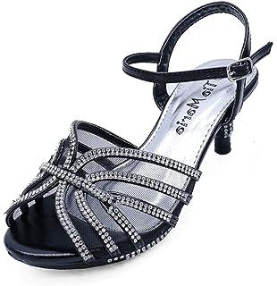 b29ba003d1f8 HeelzSoHigh Girls Childrens Black Diamante Low-Heel Sandals Pretty Party Dress  Shoes Sizes 10-