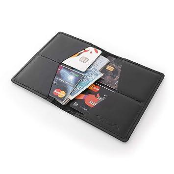 VIDA Cartera Delgada de Piel Genuino Cuero Billetera Hombre Mujer Marca Slim Wallet Leather Pequeña Minimalista Tarjeta Crédito Monedero Etui Bolsa: ...