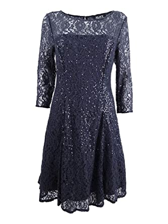 5a9b762e82 SLNY Womens Plus Lace Sequin Party Dress Gray 20W at Amazon Women s Clothing  store