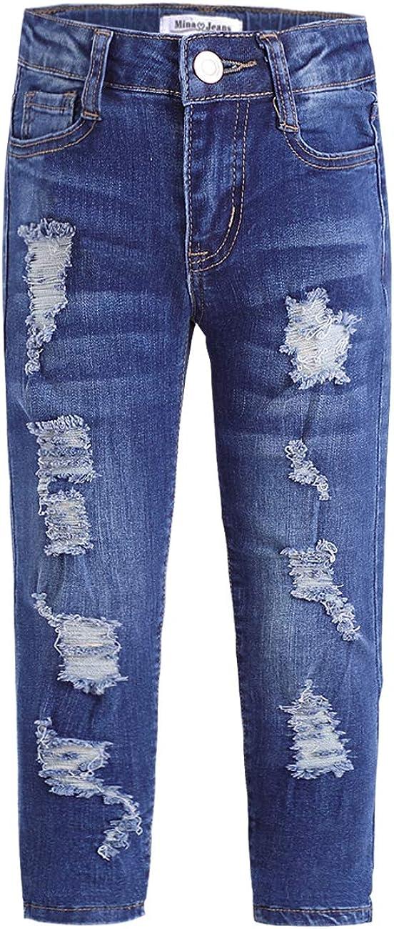 Mina mina Girls Skinny Jeans Ripped Holes Soft Denim Pants Jeans with Pockets
