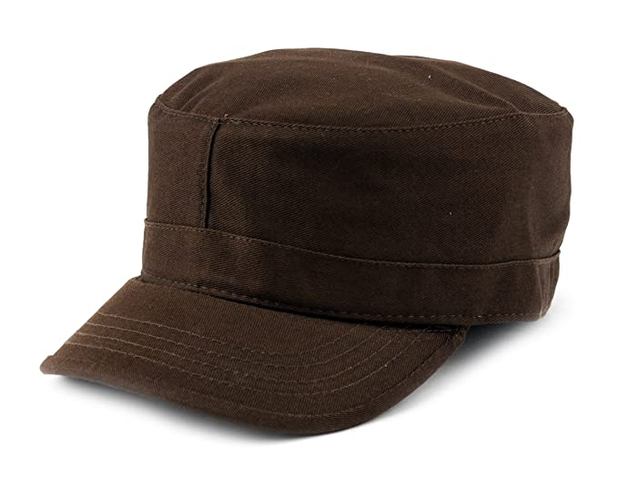 ea10e5e6 NYFASHION101 Fashionable Solid Color Unisex Fitted Army Military Cadet Cap,  Brown, S