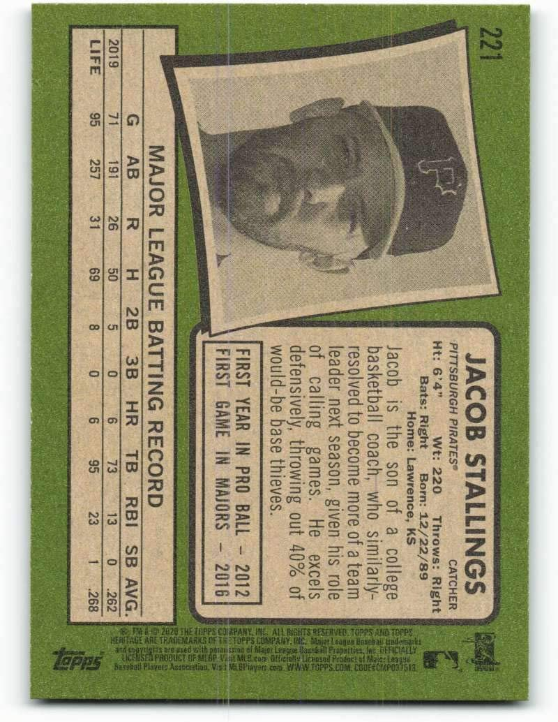 2020 Topps Heritage #221 Jacob Stallings Pittsburgh Pirates Baseball Card