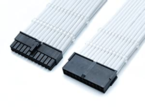 upHere Sleeved Cable - Cable Extension for Power Supply with Extra-Sleeved 24-PIN 8-PIN 6-PIN 4+4 PIN 500mm Length with Combs, White(19.7 inch/ 50CM),SC504 (Color: SC504 White, Tamaño: 50 cm)