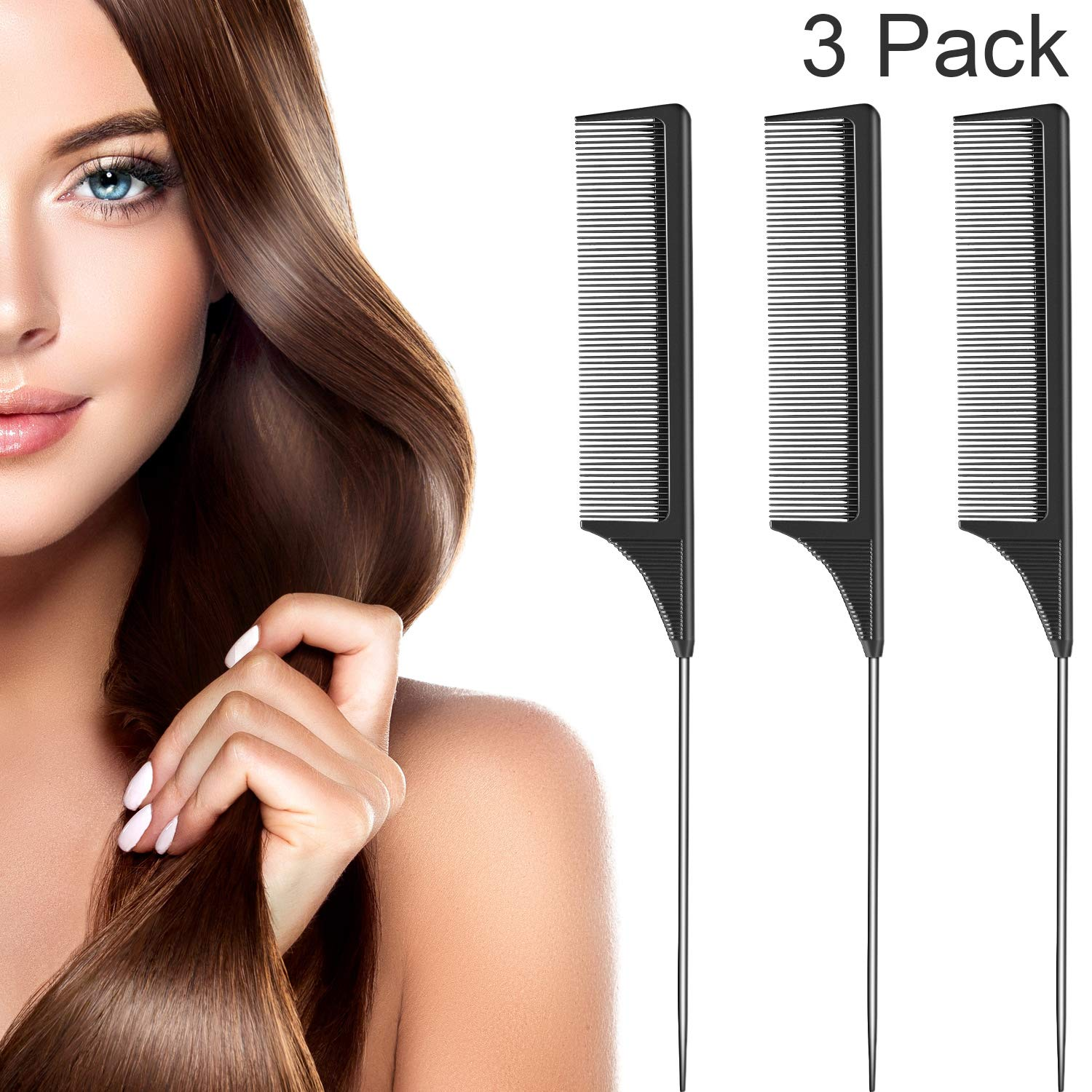 3 Pack Tail Comb Black Carbon Fiber and Stainless Steel Pintail and Heat Resistant Teasing Comb (Style B)