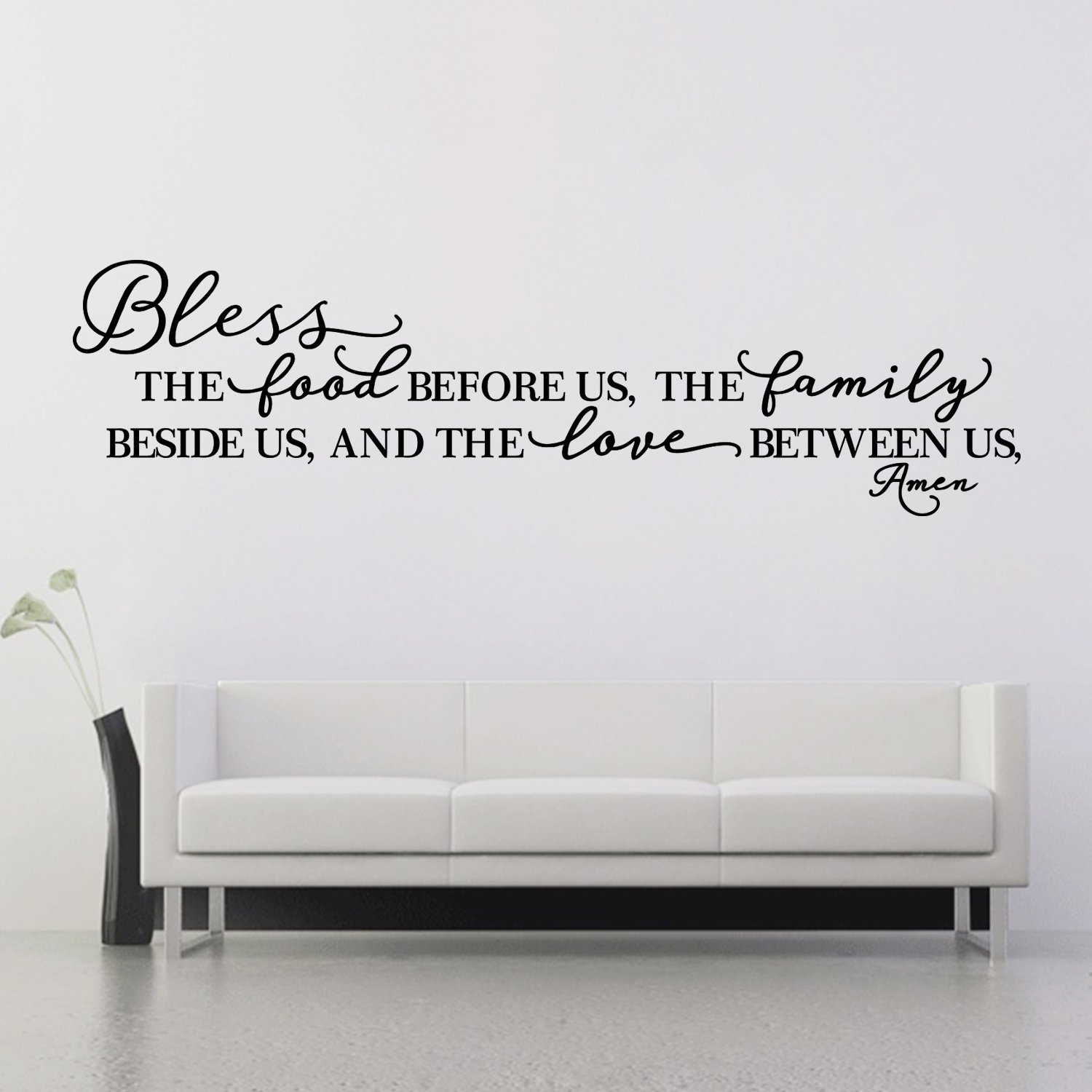 BOLLEPO Kitchen Wall Stickers Home Decor, Dining & Cooking Quote Decal Heart Removable Vinyl Art Decoration (Bless The Food Before Us, The Family Beside Us, and The Love Between Us, Amen) by BOLLEPO (Image #2)
