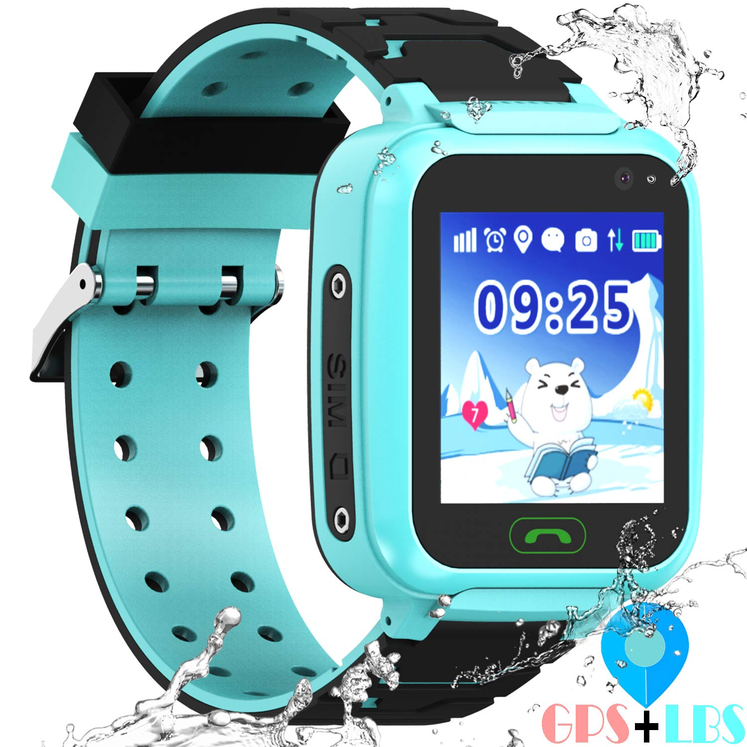 """Kids Waterproof Smartwatches Phone - [Free Extra Bands] WiFi GBS LBS Positioning Locator 1.4"""" Touch Screen Wristwatch with Call Voice Chat Pedometer Alarm Clock Gifts for Boys Grils"""