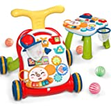 CUTE STONE Sit-to-Stand Learning Walker, 2 in 1 Baby Walker, Early Educational Child Activity Center, Multifunctional Removab