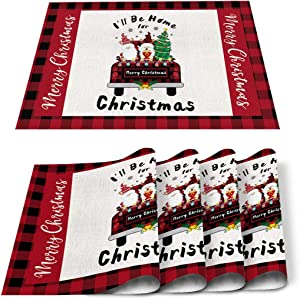 ARTSHOWING Christmas Gnomes Placemats Set of 4 Dining Table Mats Linen Burlap Kitchen Place Mats Washable Table Mats Protect A Table from Messes - I'll BE Home for Christmas Truck Tree Plaid
