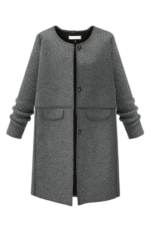 Vosujotis Women Wool Outcoat Fleece Collarless Long Sleeve Tweed Coats