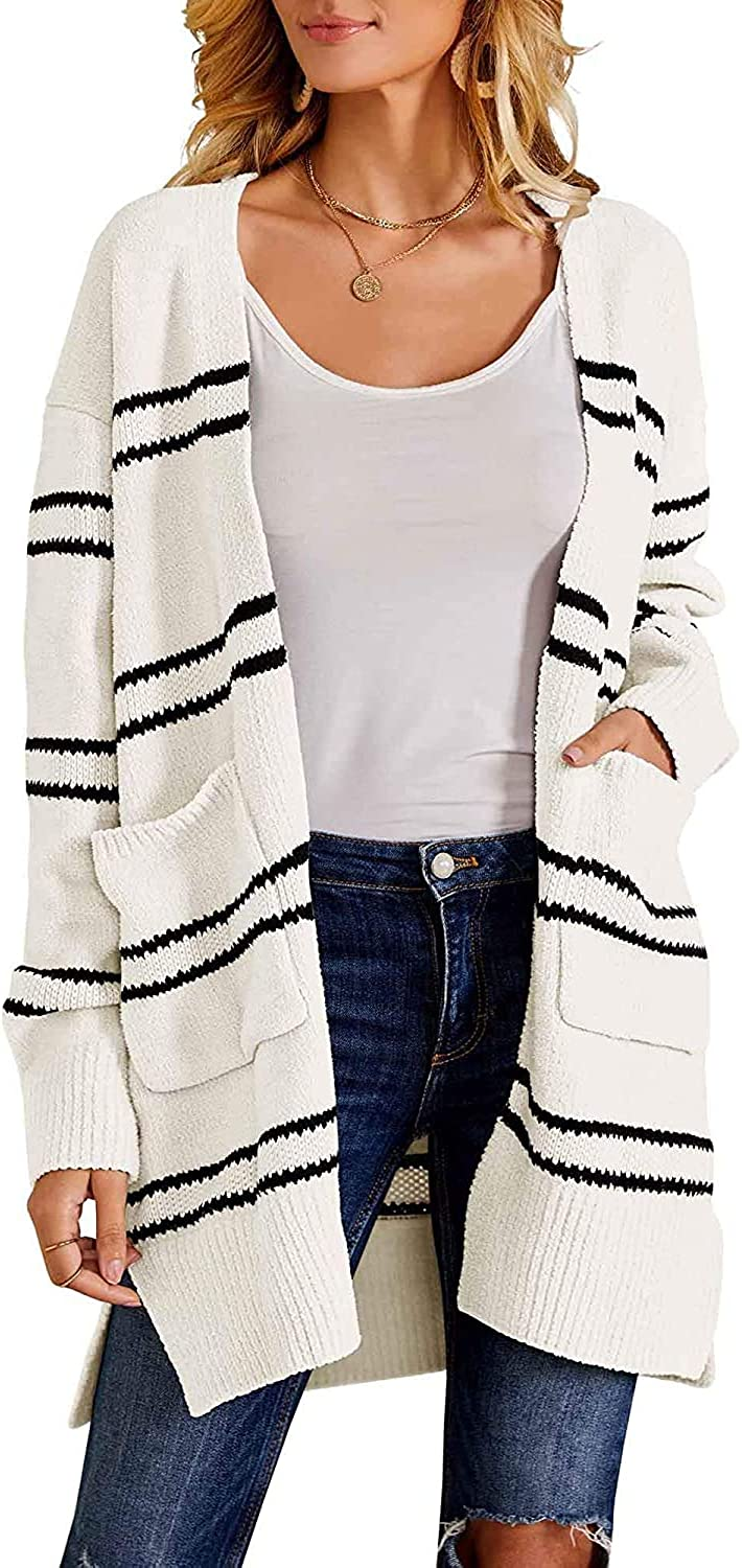 Womens Fuzzy Fleece Long Striped Cardigans Chunky Knit Duster Sweaters Fall Winter Warm Coat with Pocket