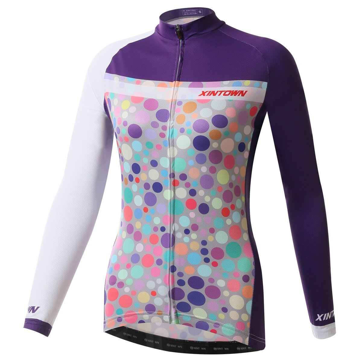 BESYL Womens Printed High-Performance Mesh Cycling Clothing Suit, Breathable Long Sleeve Cycling Jersey and Bib Padded Pants Kit for Bicycle Bike Riding Biker (Purple White Colorfull Polka)