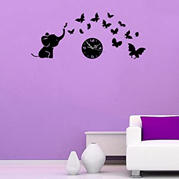 EGELBEL Removable DIY Acrylic 3D Mirror Wall Decal Cute Elephant Butterfly  Wall Clock Wall Sticker Home