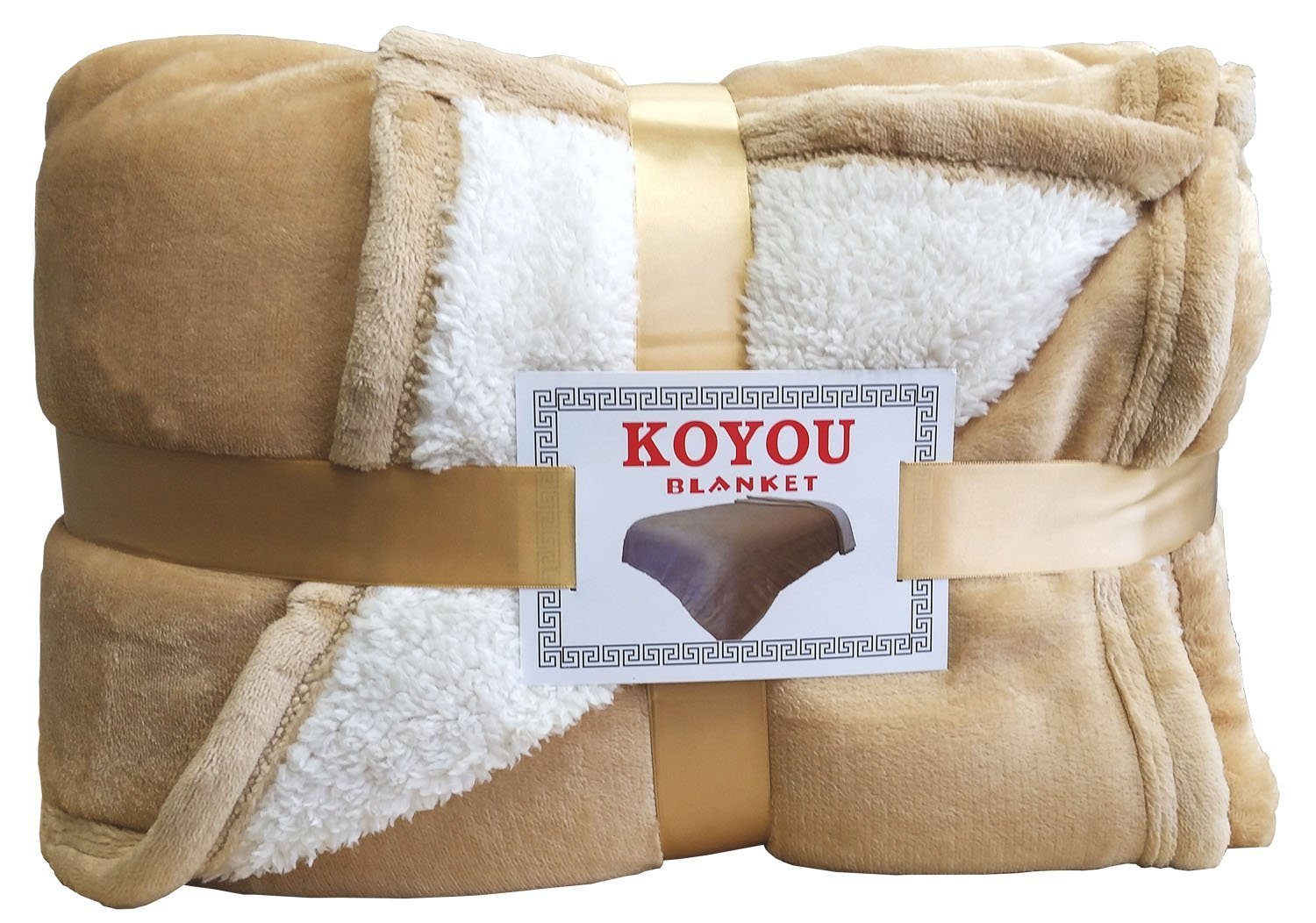 KOYOU Super Soft Light Brown Plush Sherpa Borrego Blanket Throw Queen or Full Size Bed