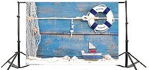 SZZWY 10x10ft Marine Theme Vinyl Photography Background Wooden Rudder Sailboat Lighthouse Life Ring Shells Anchor Telescope Illustration Backdrop Boy Birthday Party Banner Wallpaper Studio Props