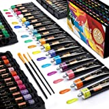 Acrylic Paint Set, Shuttle Art 66 Colors 22ml/Tube with 3 Paint Brushes, Professional Quality, Rich Pigments, Non-Toxic for A