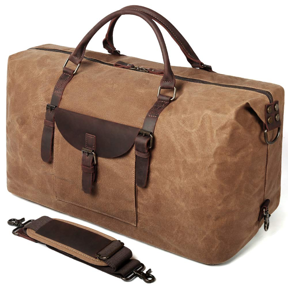 S-POINT Oversized Travel Duffle Bag Canvas Genuine Leather Water Resistant Travel Tote Duffel Overnight Weekender Bags Carryon Gym Hand Bag Larger Luggage Travel Bag for Men Women