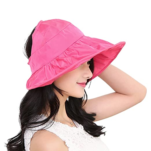 e67e3442ef3 Image Unavailable. Image not available for. Color  OULII Fashion Wide Brim  Sun Hat Summer UV Protection Thin Hat 2 in 1 ...