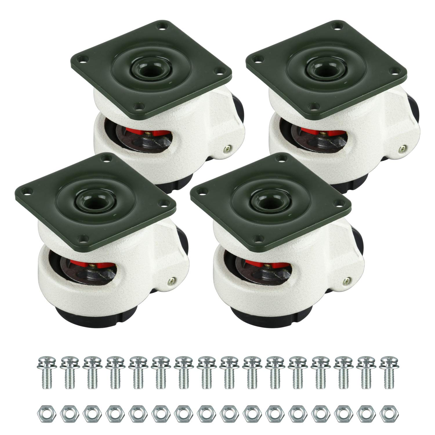 Homend 4 Pack Leveling Casters GD-60F Plate Mounted Leveling Caster 551lbs/Per Leveling Caster Wheels Nylon Wheel and NBR Pad(Plate Mounted 551lbs/Per) by Homend