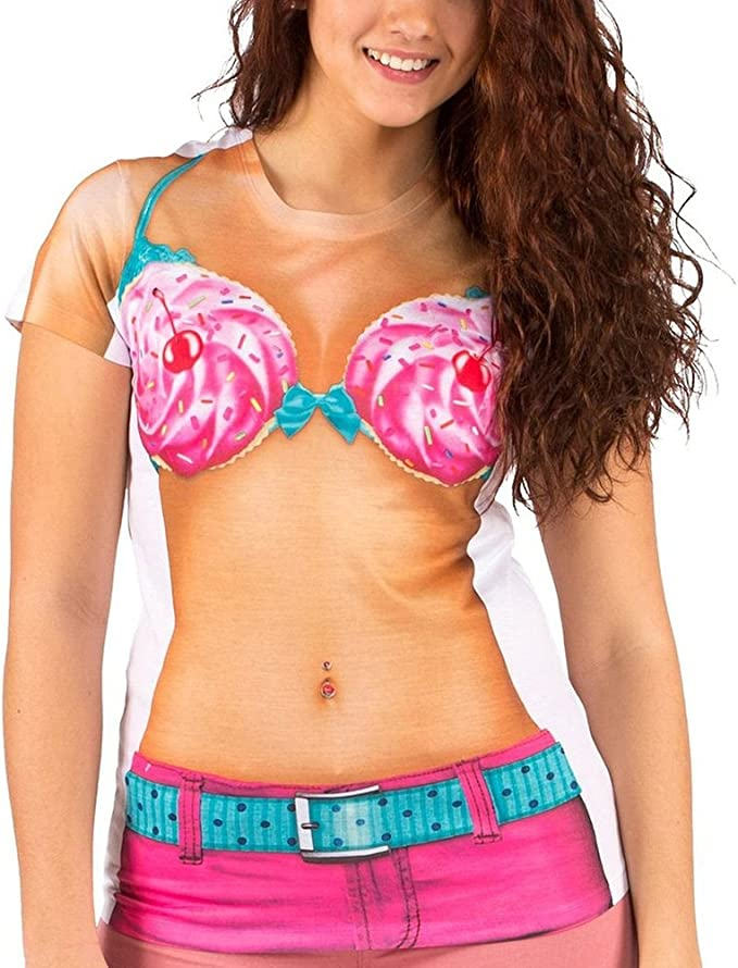 Old Glory Playera de Disfraz de Cupcake Bikini Juniors de Faux ...