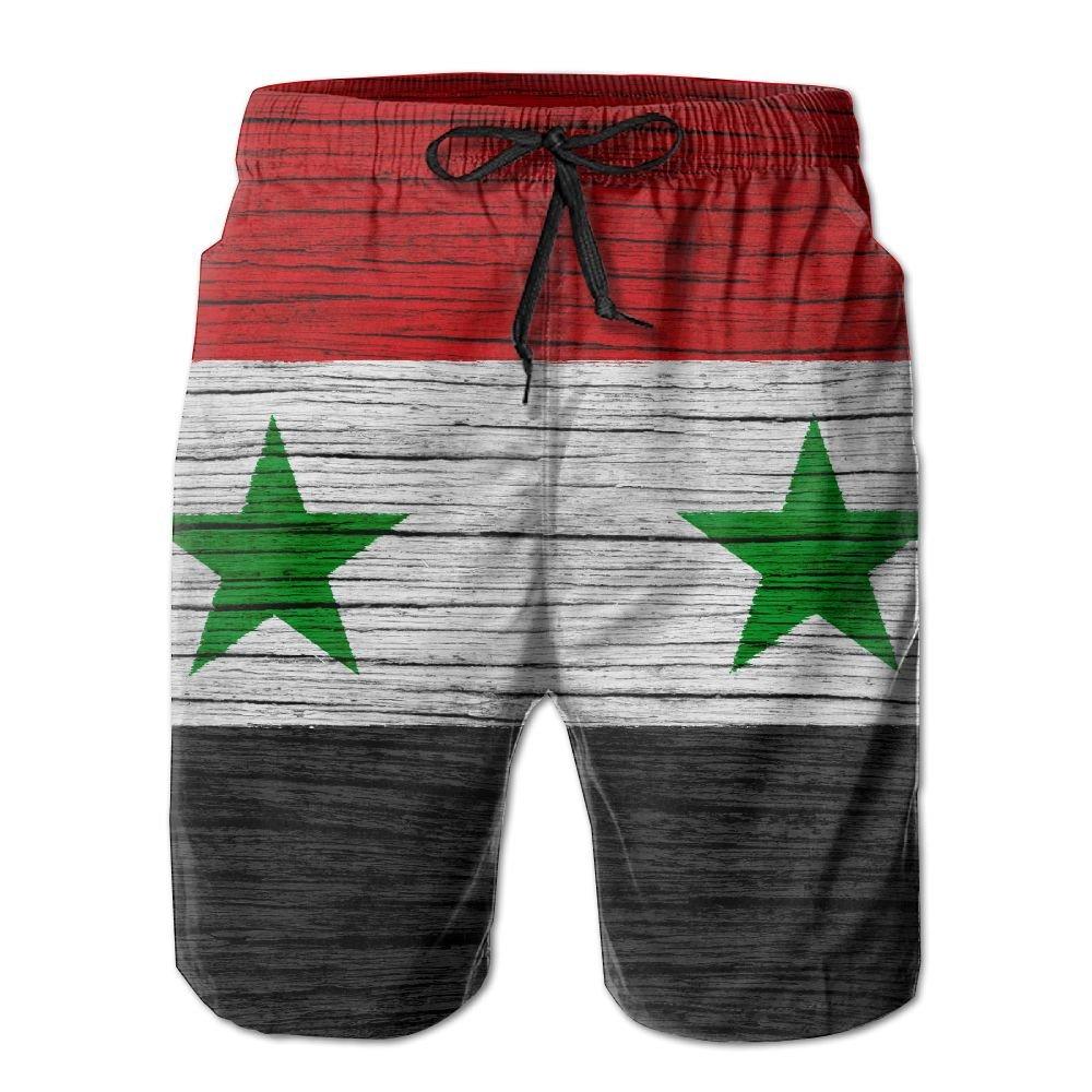 HFSST Syria Wooden Texture Syrian Flag Men Kid Male Summer Swimming Pockets Trunks Beachwear Asual Shorts Pants Mesh