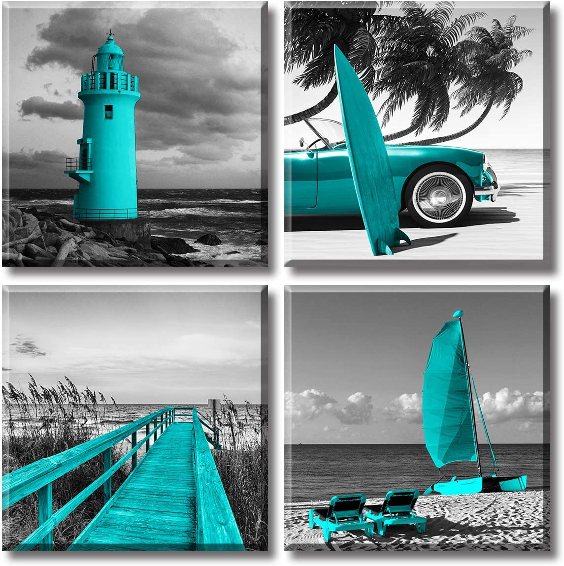 Beach Wall Art for Bathroom Decor Teal Blue Coastal Seascape Canvas Prints Black White Ocean Pictures Lighthouse Painting Palm Tree Surfboard Nautical Poster Modern Artwork for Bedroom Ready to Hang