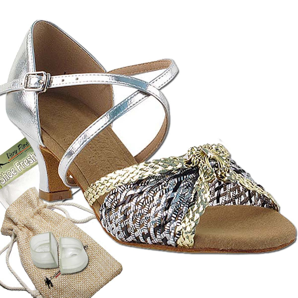 Women's Ballroom Dance Shoes Salsa Latin Practice Dance Shoes Gold & Silver Braid S92309EB Comfortable - Very Fine 2'' Heel 8 M US [Bundle of 5]