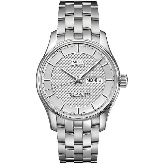 Mido Belluna M0012301103191 - Reloj para mujeres, correa de acero inoxidable color plateado