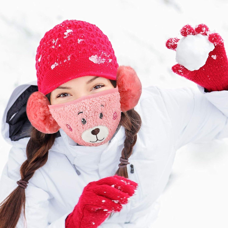 Geyoga 6 Mezza Bandana Invernale Scaldacollo Simpatico Cartone Animato Copertura Viso Bandana Calda Sfocata Paraorecchie per Donne Ragazze Mantenere Caldo in Inverno