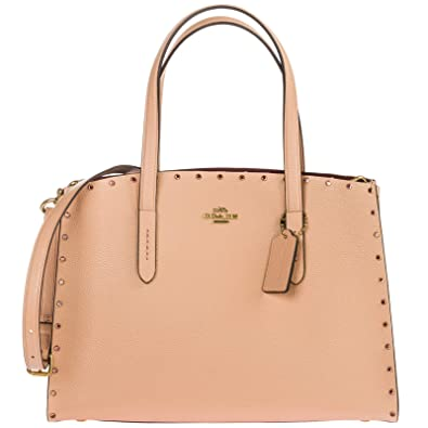 891914bfdc5b COACH Women s Crystal Border Rivets Charlie Carryall B4 Nude Pink One Size   Handbags  Amazon.com