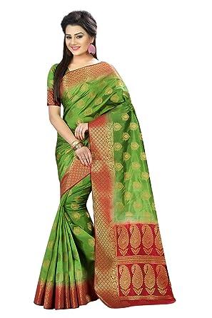 22f25179ba Amazon.com: Designer Sarees Woven Work Banarasi Art Silk Saree for women  With Unstitched Blouse Piece (Green): Clothing