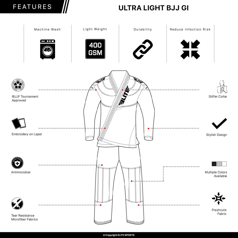 Elite Sports IBJJF Ultra Light BJJ Brazilian Jiu Jitsu Gi