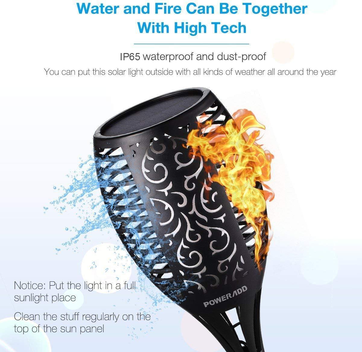 allumage et arr/êt automatiques Swonuk Lampe solaire de jardin /étanche IP65 avec flammes r/éalistes