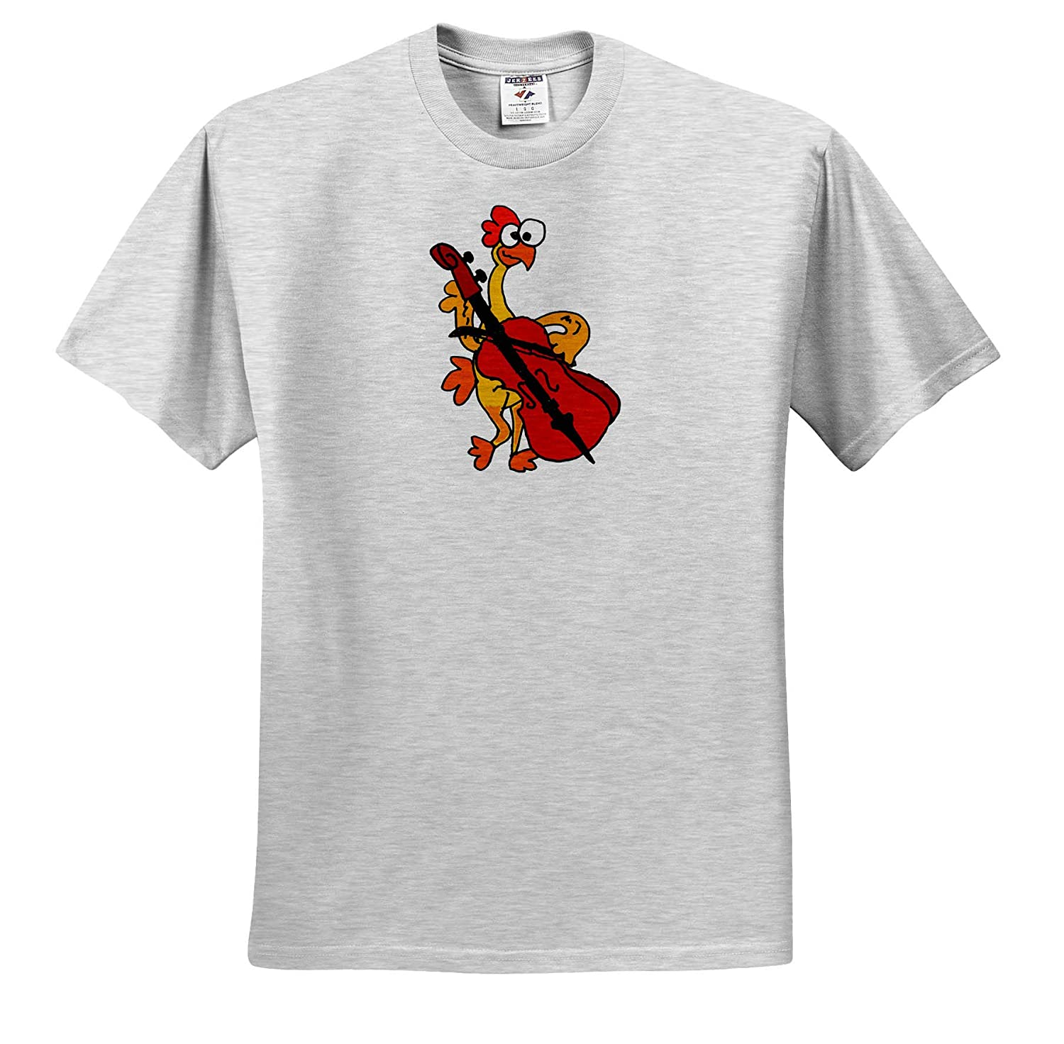 Funny T-Shirts Funny Cute Rubber Chicken Playing Cello Musical Cartoon 3dRose All Smiles Art