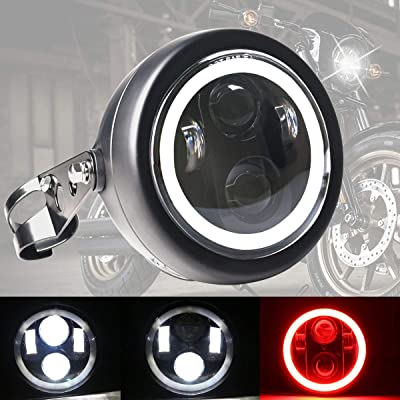 DDUOO 5.75inch LED Motorcycle Headlight with Headlight Housing Bucket Red DRL LED Headlamp for Honda Shadow Cruiser Bobber Triumph Cafe: Automotive