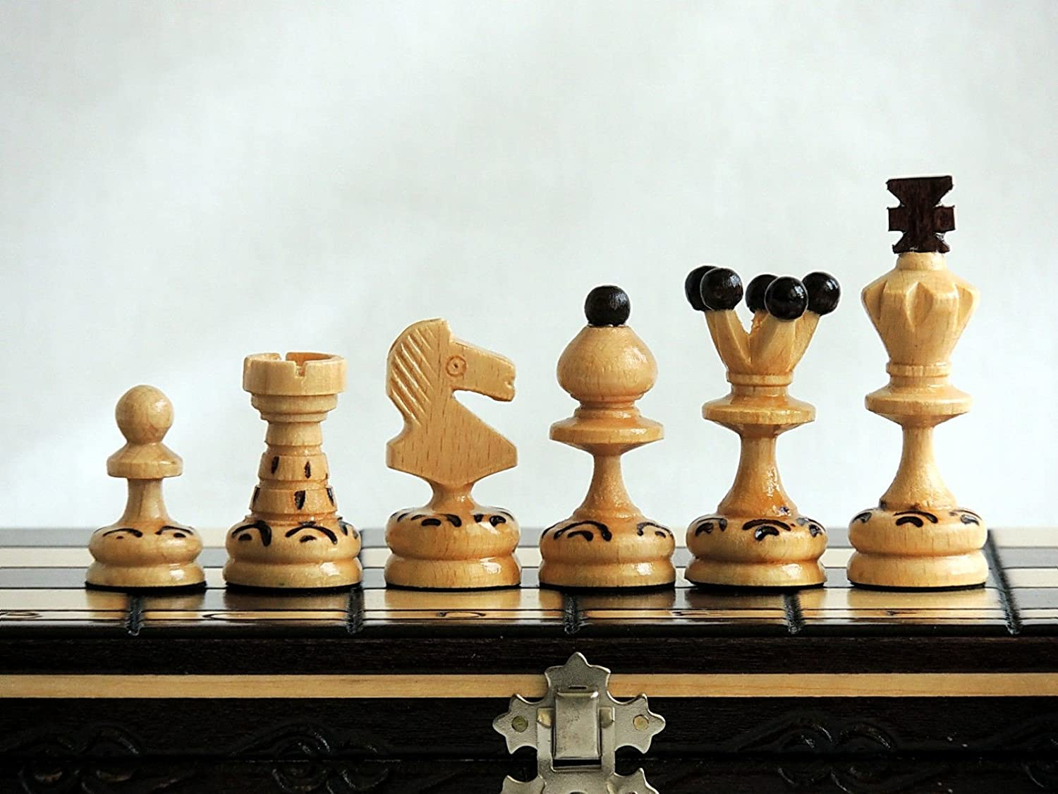 13.8in Popular European Wooden Chess Set Stunning PEARL 35cm Hand Crafted and