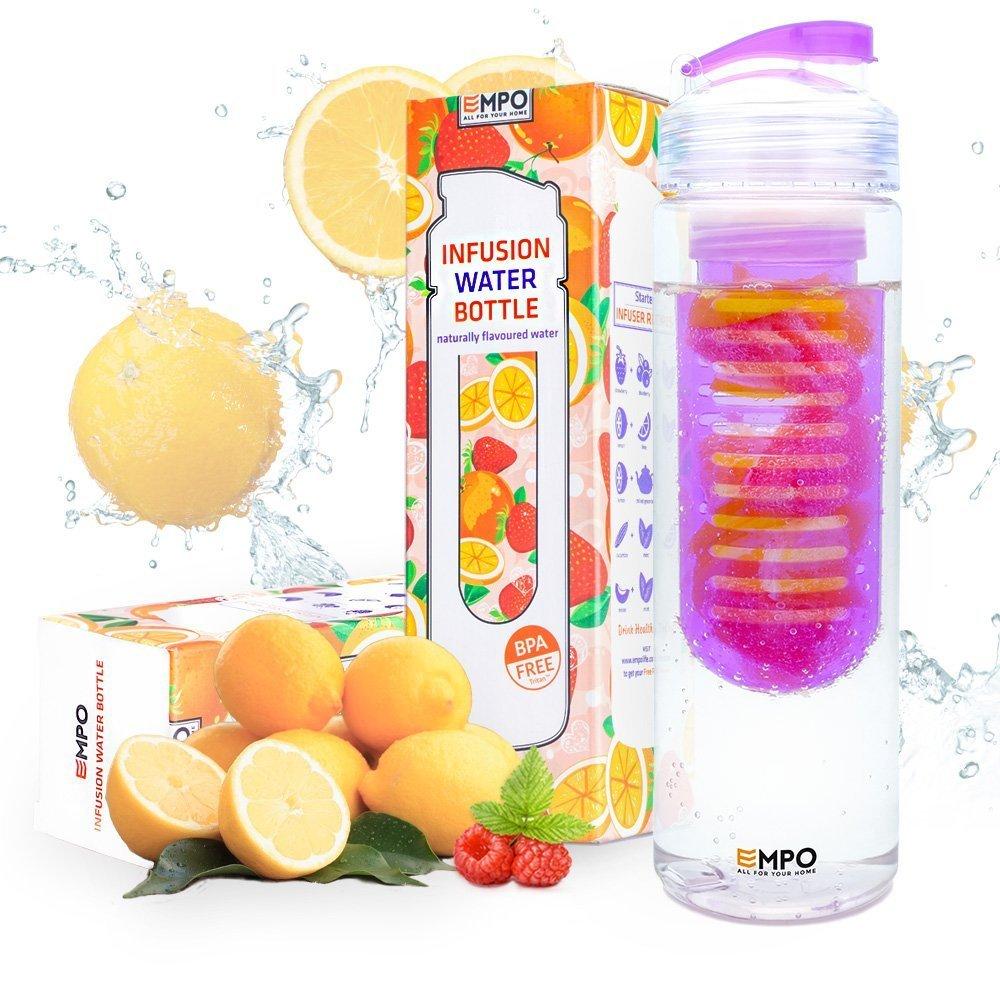 Trinkflasche mit frü chtebehä lter - 700ml/25oz mit kostenlosem Rezepte eBook - EMPO BPA Freies Tritan Sportflasche - Langlebig und leicht - Lila