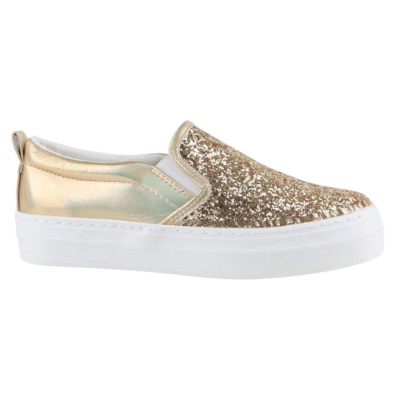 Stiefelparadies Damen Sneaker Slip Ons mit Plateau Glitzer Flandell  36 EU|Gold Metallic