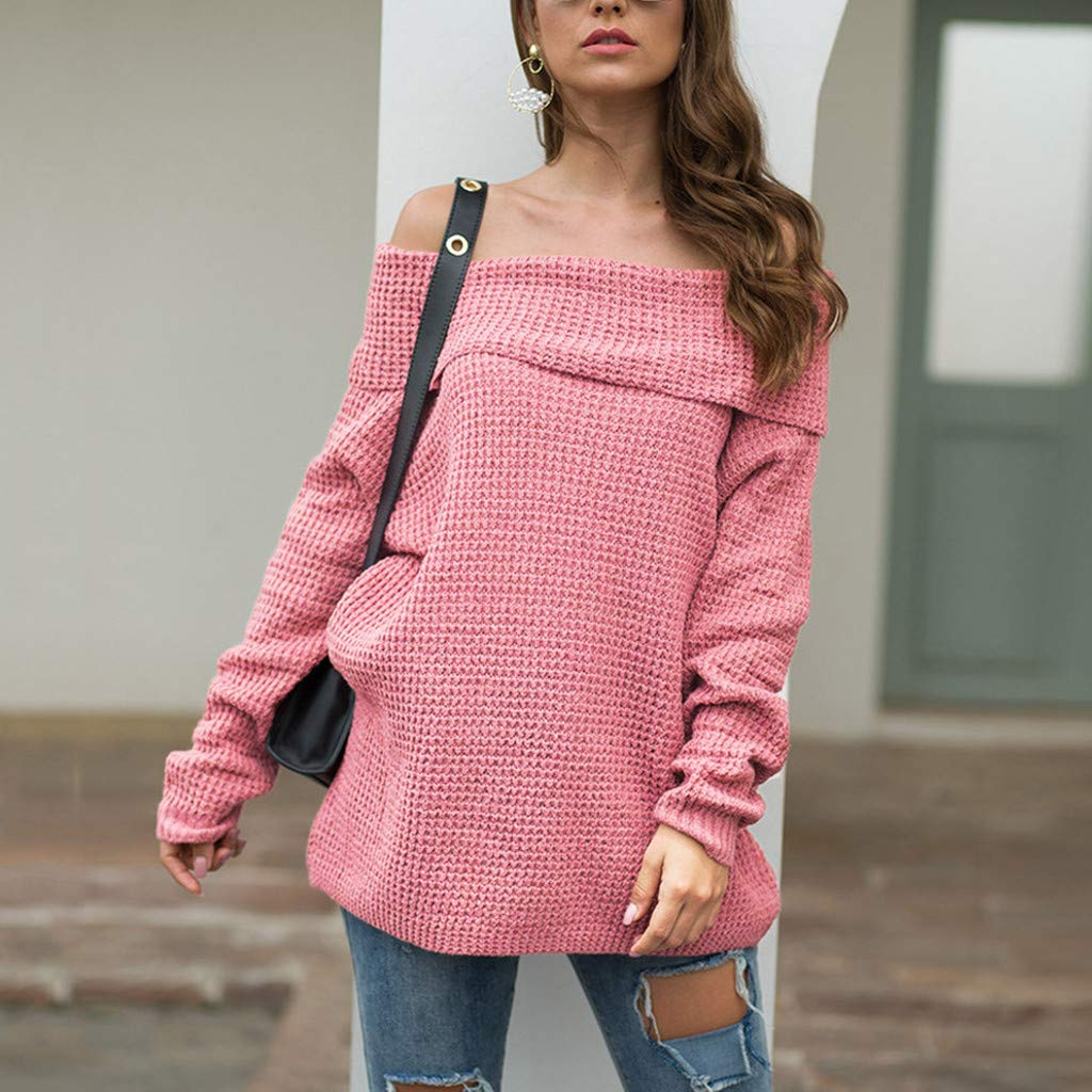 Ultramall Womens Long Sleeve Off Shoulder Sweater Pure Color Down Shirts Sexy Tops Blouse(Pink,M) by Ultramall (Image #2)