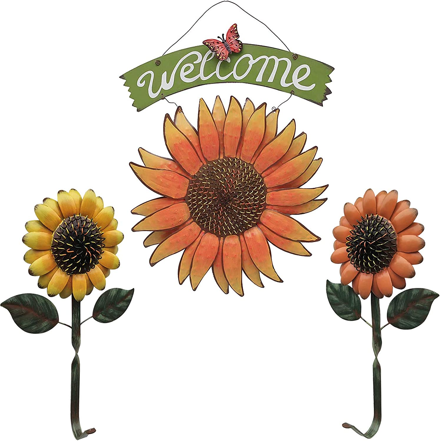 Amazon Com Tisoso Rustic Sunflower Welcome Sign With Two Vintage Hook Hanging For Home Kitchen Wall Art Yard Entryway Decor Decorative Set Of 3