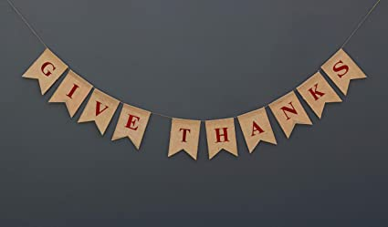 Boston Creative Company GIVE Thanks Burlap Banner