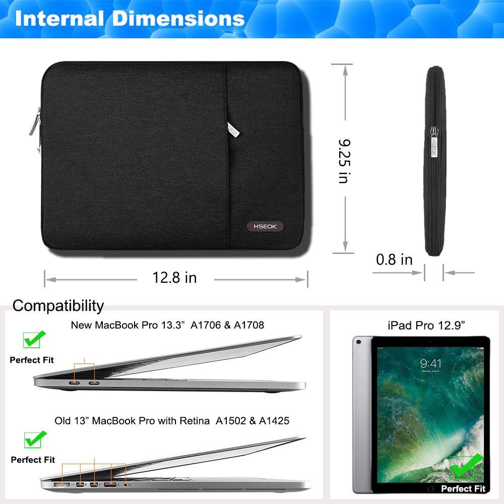 Nero Custodia Computer PC 15.6 Pollici Notebook Portatile Borsa Sleeve a 2 Scomparti Impermeabile Compatibile da 15-15,6 Pollici Dell//Ausu//Acer//HP//Toshiba//Lenovo//Surface book