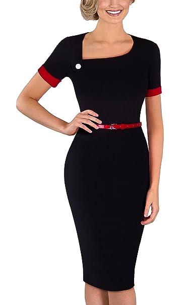 Homeyee B350 - Vestido ajustado para mujer, elegante, cuello oblicuo, con cinturón,