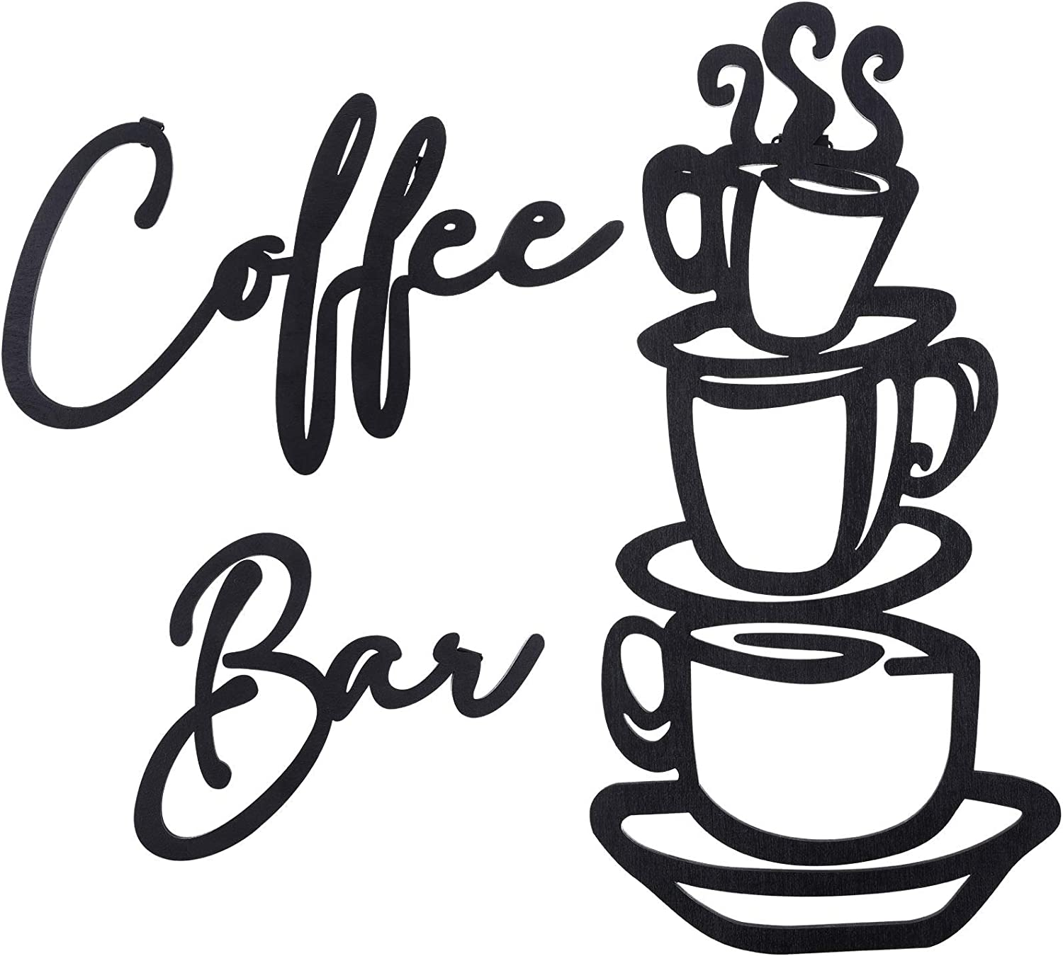 3 Pieces Coffee Bar Wall Sign Rustic Wooden Coffee Cup Wall Art Wood Letter Sign Farmhouse Kitchen Wall Decor for Home Restaurants Decoration (Black)