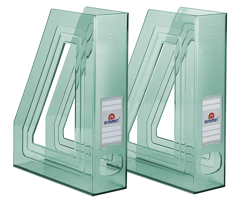 Acrimet Magazine File Holder (Clear Green Color) (2 - Pack)