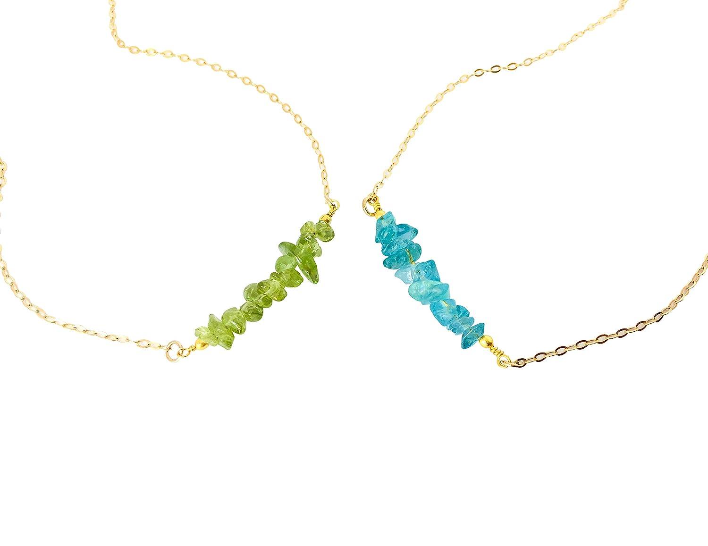 Gem Bar Necklace Raw Crystal Silver Bar Birthstone Necklace Gemstone Pendant Necklace