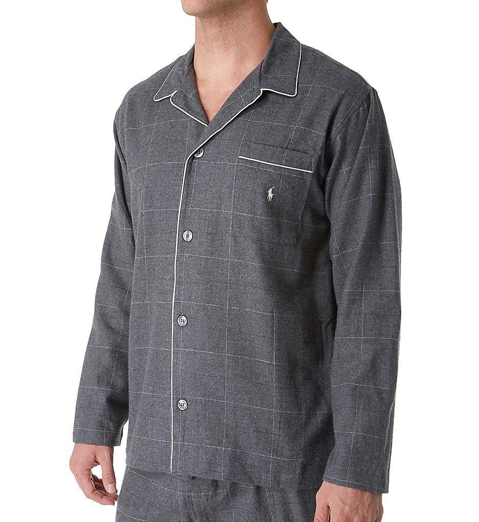 Polo Ralph Lauren Classic Flannel Pajama Top, M, Charcoal