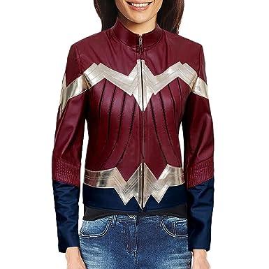 b8547fc9c0f67 Amazon.com: Wonder Woman Gal Gadot Iconic Costume Leather Jacket ...